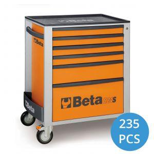 Beta gereedschapwagen gevuld 235-delig oranje wieltjes