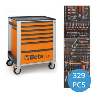 Beta gereedschapswagen 329-delig C24S/7 oranje