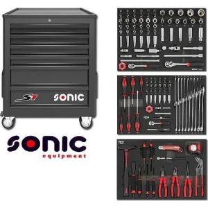 Sonic gereedschapswagen gevuld 140-delig 6 lades