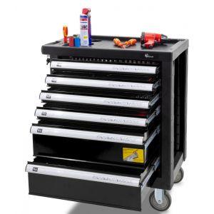 Gereedschapswagen gevuld ''Professional Line'' 6-laden zwart gereedschapdeal prijstechnisch werkblad