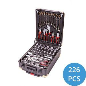 Gereedschapstrolley 226-delig koffer tangensen moersleutel ratelslang staal gevuld vakjes zwart
