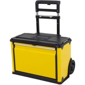 Gereedschapstrolley geel met robuuste wielen en uitschuifbaar handvat gereedschapdeal prijstechnisch