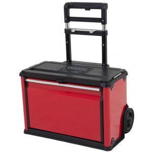 Gereedschapstrolley rood met robuuste wielen en uitschuifbaar handvat gereedschapdeal prijstechnisch