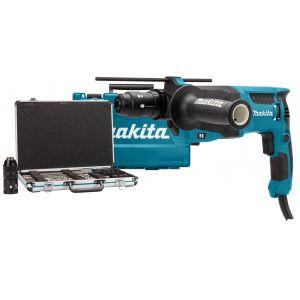 Makita HR2630TX12 SDS-PLUS boor- en combihamer in koffer + accessoireset in koffer 230V