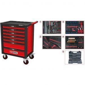 KS Tools gereedschapswagen Racingline gevuld 515-delig 7 lades rood