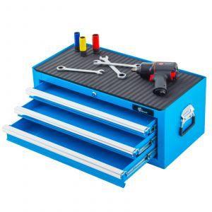 Ragnor gereedschapskist met 3 laden - blauw | Lades open