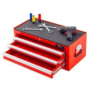Ragnor gereedschapskist met 3 laden - rood | Lades open