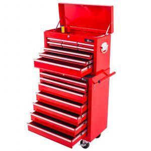 Ragnor gereedschapswagen 'Hela' met opzetkist leeg 16 lades rood