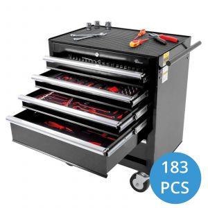 Ragnor gevulde gereedschapswagen 5 lades 183-delig - zwart gereedschapdeal prijstechnisch