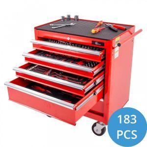 Ragnor gevulde gereedschapswagen 5 lades 183-delig - rood gereedschapdeal prijstechnisch