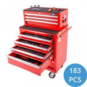 Ragnor gevulde gereedschapswagen 8 lades 183-delig - rood gereedschapdeal prijstechnisch