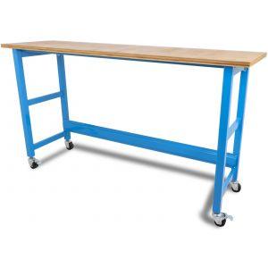 Werkbank verrijdbaar met werkblad - 200 cm blauw gereedschapdeal prijstechnisch