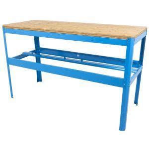 Werkbank met bamboe werkblad Ragnor blauw gereedschapdeal prijstechnisch