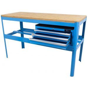 Werkbank met bamboe werkblad en gereedschapskist blauw gereedschapdeal prijstechnisch