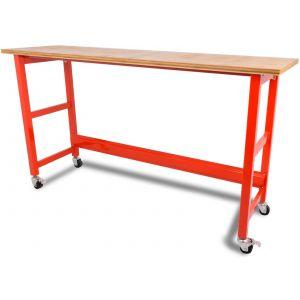 Werkbank verrijdbaar met werkblad - 200 cm rood gereedschapdeal prijstechnisch