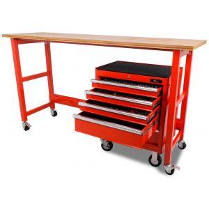 Werkbank verrijdbaar met werkblad en gereedschapswagen 183-delig - 200 cm - rood gereedschapdeal prijstechnisch