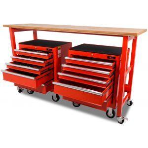Werkbank verrijdbaar met werkblad met 2 gereedschapswagens 183-delig - 200 cm - rood gereedschapswagen gereedschapdeal prijstechnisch