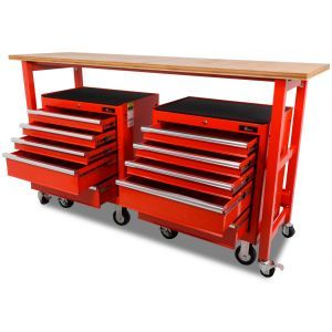 Werkbank verrijdbaar met werkblad met 2 gereedschapswagens - 200 cm - rood gereedschapdeal prijstechnisch