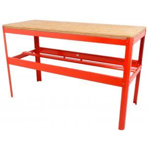 Werkbank met bamboe werkblad Ragnor rood gereedschapdeal prijstechnisch