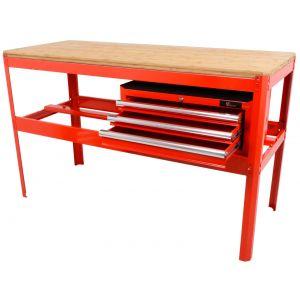 Werkbank met bamboe werkblad en gereedschapskist rood gereedschapdeal prijstechnisch
